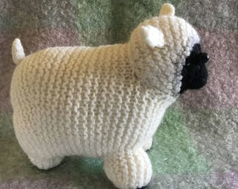 Hand knit felted wool sheep