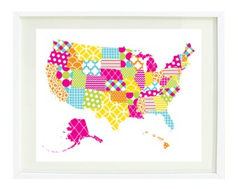 United States of America Map Art Print-8x10-Patchwork with Bright Colors/Patterns-Hot Pink-Yellow-Aqua-Orange-Green-Kids Room-Girls Nursery