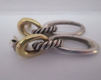 Vintage David Yurman 18K Gold with Sterling Silver Rope Drop Earrings