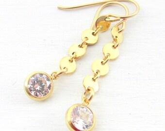 CZ Drop Gold Earrings   Fake Diamond Earrings in Gold   Gold Coin Earrings   Elegant CZ Gold Earrings   14K GF   Bezel Set Cubic Zirconia