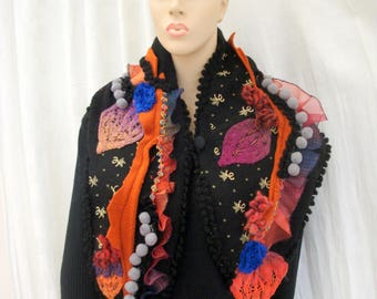 Designer knit scarf Bohemian autumn colors handmade
