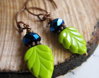 Green Leaf Boho Earrings, Botanical, Sapphire Crystal, Brass Earrings, Dainty, Vintage Style, blueartichokedesigns