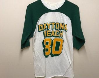 Vintage 50/50 DAYTONA BEACH - 80 Graphic Raglan T-Shirt - Small