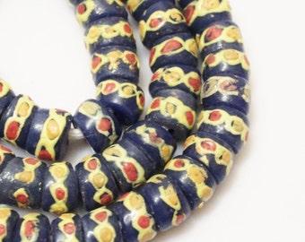 Blue African Beads (12), Ethnic Glass Beads, African Krobo Beads, Blue Yellow Beads