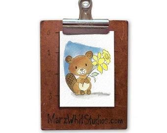 Beaver with Daffodil - ACEO - Watercolor - 140 pound Watercolor Paper