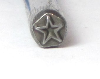 Super STAR design stamp for silver jewelry stamping of charms 5 x 5mm