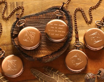 SET OF 12 - Engraved Copper Pocket Watch, Personalized Groomsmen Gifts - Engraved Wedding Date -Anniversary Gift For Men