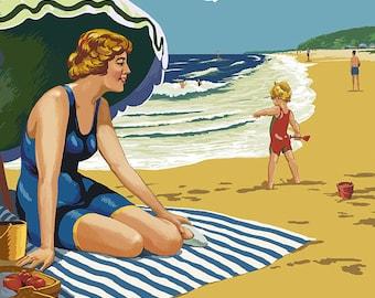 Alki Beach, West Seattle, WA - Woman on Beach (Art Prints available in multiple sizes)