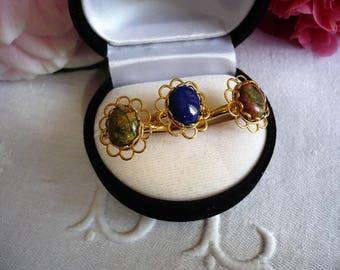 Ring stones adjustable thin metal gold