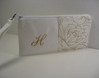 Gold Monogrammed Clutch,  Initialed Purse, Zipper Pouch, Personalized Bridesmaid Clutch, Makeup Bag Made To Order - Gold and White