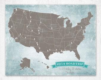 "Push Pin Travel Map, Traveler Gift Map, Custom Map, United States Map, Sizes 5""x7"" up to 40"" x 60"""