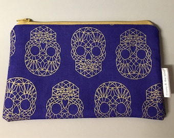 Skull Gold Geometric Royal Blue Pencil Case / Make Up Bag