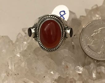 Carnelian and Garnet Ring Size 8