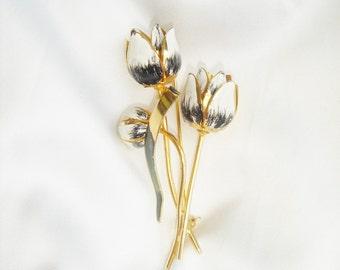 Vintage Gold Tone Enamel Tulip  Brooch, Flower Brooch, Tulip Flower Brooch, 3D Brooch, Traditional Jewelry