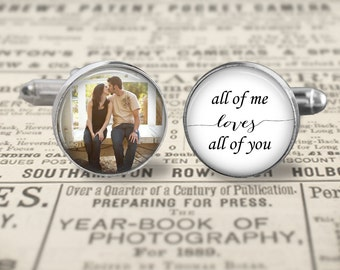 Groom Cufflinks, Custom Mens Accessories, Wedding Cufflinks, All Of Me Loves All Of You