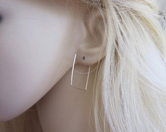 SQUARE sterling silver, yellow or rose gold filled wire hoop earrings, modern, geometric earrings