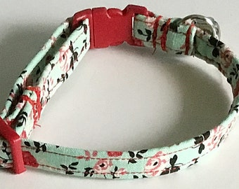 Mint Green Floral Breakaway Cat Collar with Bell
