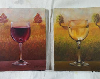 Red and White Wine Paintings, Oil on Canvas, 8x10 inches each. Sold by the Artist JDBuckner.