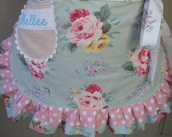 Womens Aprons - Pink Rose Aprons - Shabby Chic Aprons - Roses and Pink Dots Handmade Aprons - Wedding Shower Aprons - Annies Attic Aprons