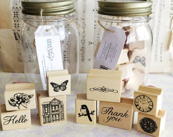 American Crafts jar of rubber stamps - DIY Shop - nine quality wood mounted rubber stamps - card making - scrapbooking journaling supplies