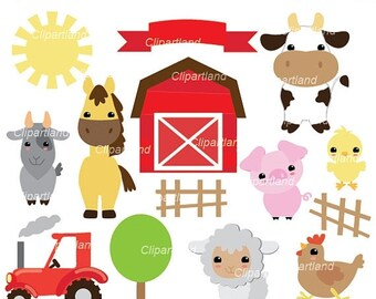 ON SALE INSTANT Download. Cf_70_Farm. Farm animals clip art. Personal and commercial use.