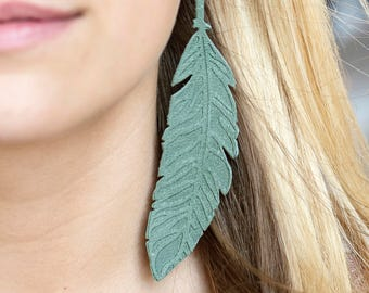 Spring Leather Feather Earrings -Real Gold -Moss, Green-Embossed Leather-Handmade Earrings - Genuine Leather Earrings - Lightweight Earrings