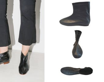 Sample sale! Black leather boots, Chelsea boots, women's boots