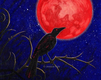 Fantasy Art Print- The Moon is on Fire - 8.5x11 or 5x7 Open Edition Print - Fantasy Surreal Raven Art