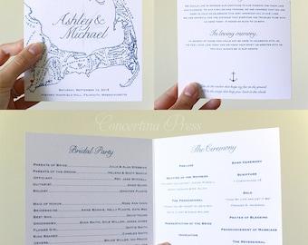 Cape Cod Wedding Program, Folded Cape Cod Map Program