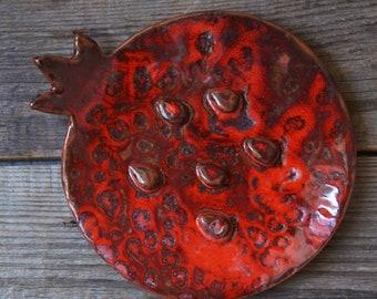 Ceramic Plate or Soap Dish Red Pomegranate Garnet