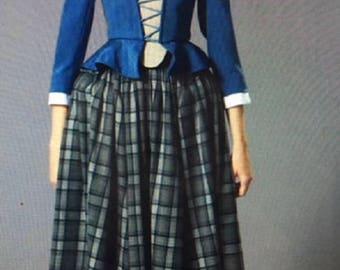 colonial peplum top and full skirt mob cap scarf pannier or bum roll DAR women size 06-10