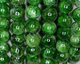 7-8mm Chrome Diopside Gemstone Green Round Loose Beads 7 inch Half Strand (90183699-375)