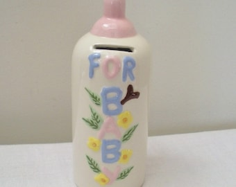 Vintage Ceramic Baby Bottle Bank