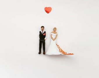 Personalised miniature Bridal couple bride and groom wedding anniversary gift alternative wedding portrait