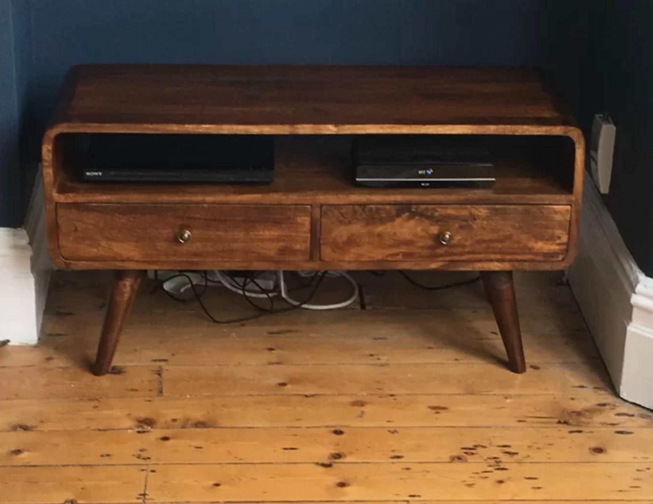 Mid Century TV Stand Modern Scandinavian Style Vintage Media Cabinet Rustic Solid Wood Unit 2 Drawers Large Shelf Lowboard Danish Nordic Leg