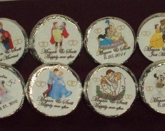 Custom Made Disney Wedding/Engagement/Anniversary Candy kiss/mini bubbles/Tic Tacs/Candles/Favor Labels @*Peel N Stick