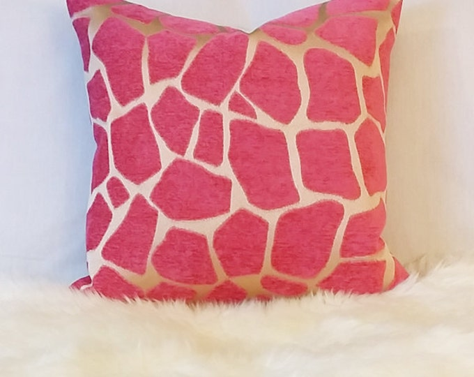 DISCONTINUED pink giraffe print pillow cover