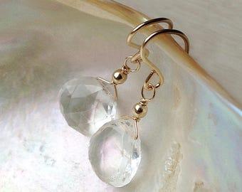 Clear crystal earrings, Clear quartz earrings, rock crystal earrings, April birthstone earrings gold wedding bridal jewelry, silver drop