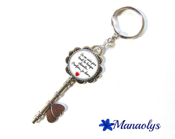 """Door keys or bag charm, message, quote, """"I'm not always boring, sometimes I sleep"""" 134 glass cabochons"""
