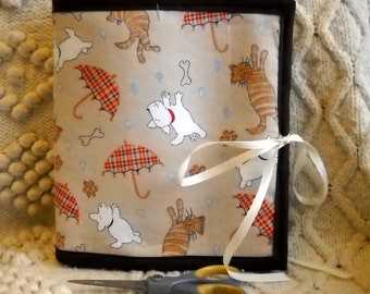 Raining Cats and Dogs Armchair Sewing Caddy, Hand Sewing Organizer