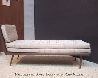 1:6th Scale Barbie Furniture Mid Century Modern Chaise Lounge chair in Champagne Shantung for Barbie  Blythe dolls OOAK