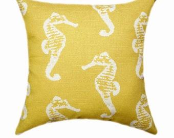 Sea Horse Corn Yellow Throw PIllow - Yellow Pillow Cover - Beach Themed Decorative Pillow Cover - Yellow and White Pillow - Seahorse Pillow