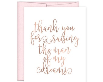Thank You For Raising the Man of My Dreams Card - Man of My Dreams Wedding Day Card - Day of Wedding Cards - Groom's Parents Card (CH-BP6)