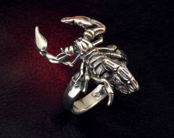 Scorpion ring, scorpion jewelry, silver ring, scorpion, zodiac jewelry, zodiac ring, horoscope jewelry, gift jewelry, sterling silver