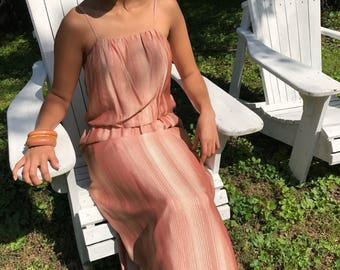 70s pink gold maxi dress / metallic dress / spaghetti straps / small - medium