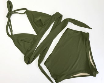 Women's vintage swimsuit, high waist Olive green bathing suit, retro swimwear
