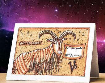 Capricorn birthday card, capricorn star sign zodiac astrology birthday card, capricorn stationery gift star sign zodiac card