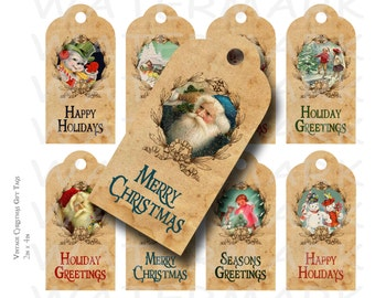 Vintage Christmas Gift Tags - Printable - INSTANT DOWNLOAD