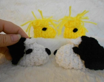 A Dog and His Best Friend (Snoopy and Woodstock) Crocheted Character  Baby Booties, Slippers Preemie Size