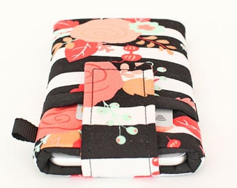 Floral iPhone 8 Plus Sleeve, Samsung Galaxy S8 Case, Women's Cell Phone Pouch, Custom Phone Sleeves - coral gold aqua roses black stripes
